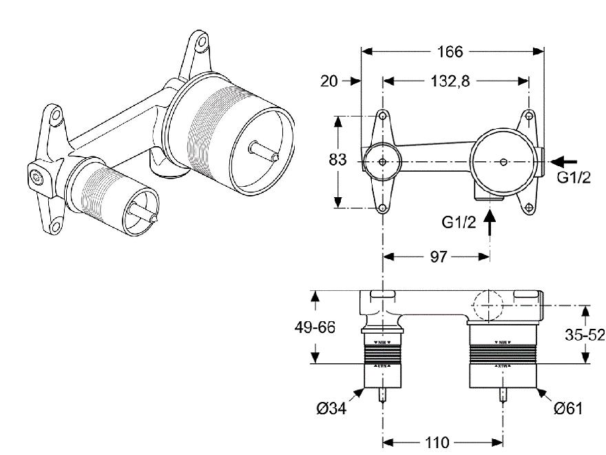 MELANGE Kompletna Bateria Umywalkowa ścienna A 5591 AA